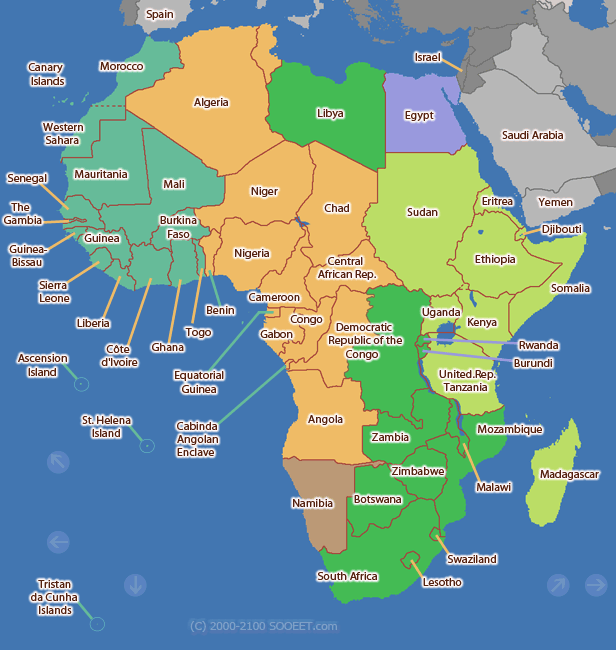 Africa Time Zone Map Africa time zone map