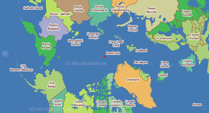 Arctic time zone map