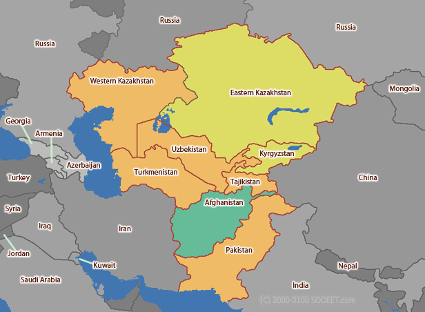 Central Asia time zone map