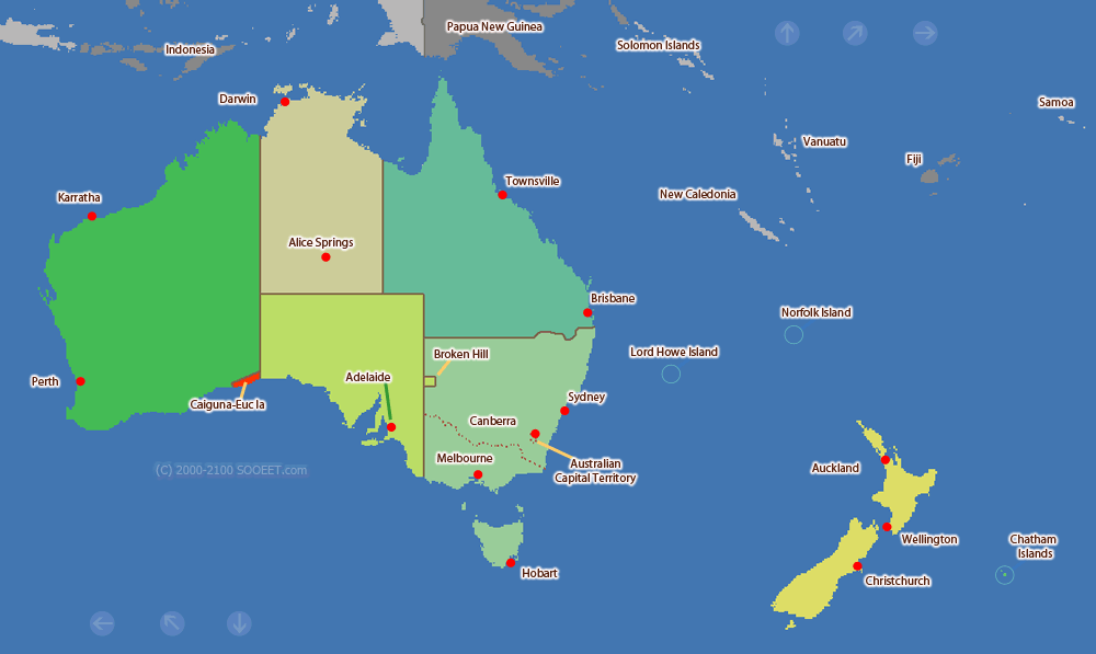 Australia Map Time Zones.Australia And New Zealand Time Zone Map